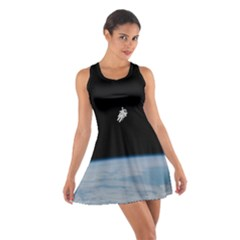 Astronaut Floating Above The Blue Planet Cotton Racerback Dress