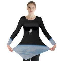 Astronaut Floating Above The Blue Planet Long Sleeve Tunic