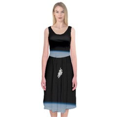 Astronaut Floating Above The Blue Planet Midi Sleeveless Dress