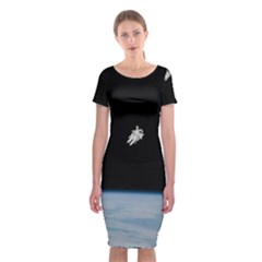 Astronaut Floating Above The Blue Planet Classic Short Sleeve Midi Dress