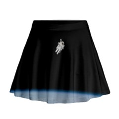 Astronaut Floating Above The Blue Planet Mini Flare Skirt
