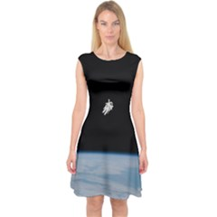 Astronaut Floating Above The Blue Planet Capsleeve Midi Dress