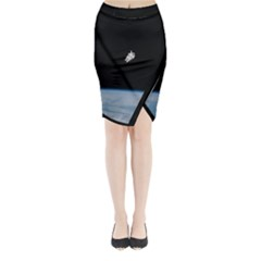 Astronaut Floating Above The Blue Planet Midi Wrap Pencil Skirt