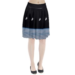 Astronaut Floating Above The Blue Planet Pleated Skirt