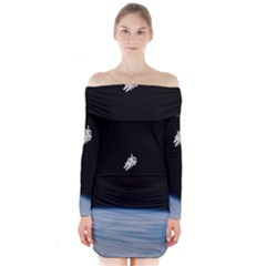 Astronaut Floating Above The Blue Planet Long Sleeve Off Shoulder Dress