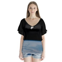 Astronaut Floating Above The Blue Planet Flutter Sleeve Top