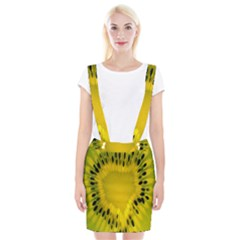 Kiwi Fruit Slices Cut Macro Green Yellow Suspender Skirt