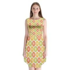Lime Orange Fruit Slice Color Sleeveless Chiffon Dress