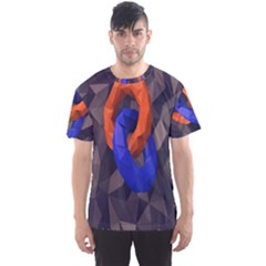 Low Poly Figures Circles Surface Orange Blue Grey Triangle Men s Sport Mesh Tee