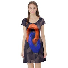 Low Poly Figures Circles Surface Orange Blue Grey Triangle Short Sleeve Skater Dress