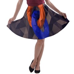 Low Poly Figures Circles Surface Orange Blue Grey Triangle A Line Skater Skirt
