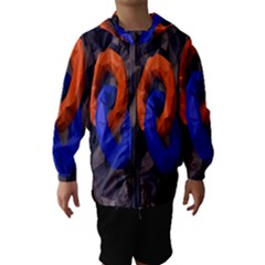 Low Poly Figures Circles Surface Orange Blue Grey Triangle Hooded Wind Breaker (kids)