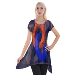 Low Poly Figures Circles Surface Orange Blue Grey Triangle Short Sleeve Side Drop Tunic