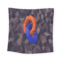 Low Poly Figures Circles Surface Orange Blue Grey Triangle Square Tapestry (small)