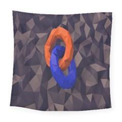 Low Poly Figures Circles Surface Orange Blue Grey Triangle Square Tapestry (large)