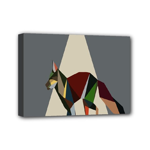 Nature Animals Artwork Geometry Triangle Grey Gray Mini Canvas 7  X 5