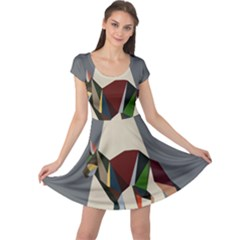 Nature Animals Artwork Geometry Triangle Grey Gray Cap Sleeve Dresses