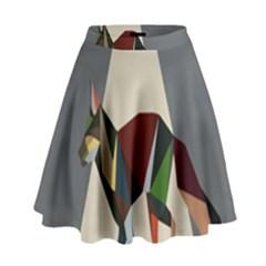 Nature Animals Artwork Geometry Triangle Grey Gray High Waist Skirt