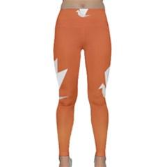 Origami Bird Animals White Orange Classic Yoga Leggings