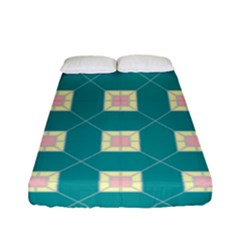 Regular Triangulation Plaid Blue Fitted Sheet (full/ Double Size)