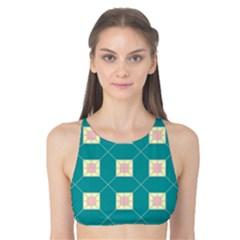 Regular Triangulation Plaid Blue Tank Bikini Top