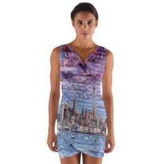Auckland Travel Wrap Front Bodycon Dress