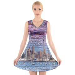 Auckland Travel V-Neck Sleeveless Skater Dress