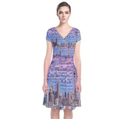 Auckland Travel Short Sleeve Front Wrap Dress