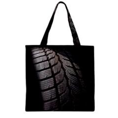 Auto Black Black And White Car Zipper Grocery Tote Bag