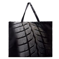 Auto Black Black And White Car Zipper Large Tote Bag