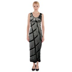 Auto Black Black And White Car Fitted Maxi Dress