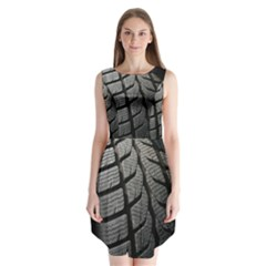 Auto Black Black And White Car Sleeveless Chiffon Dress