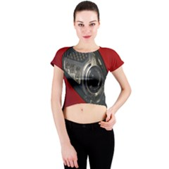 Auto Red Fast Sport Crew Neck Crop Top