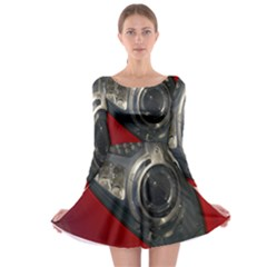 Auto Red Fast Sport Long Sleeve Skater Dress