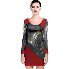 Auto Red Fast Sport Long Sleeve Velvet Bodycon Dress