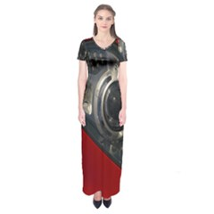 Auto Red Fast Sport Short Sleeve Maxi Dress