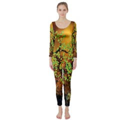 Backdrop Background Tree Abstract Long Sleeve Catsuit