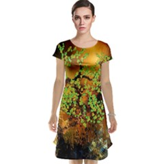 Backdrop Background Tree Abstract Cap Sleeve Nightdress