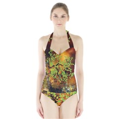 Backdrop Background Tree Abstract Halter Swimsuit