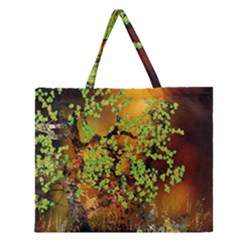 Backdrop Background Tree Abstract Zipper Large Tote Bag