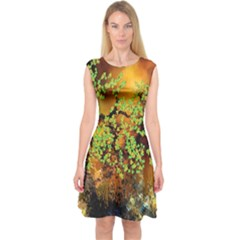 Backdrop Background Tree Abstract Capsleeve Midi Dress