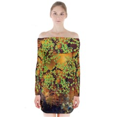 Backdrop Background Tree Abstract Long Sleeve Off Shoulder Dress