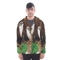 Backdrop Colorful Bird Decoration Hooded Wind Breaker (men)