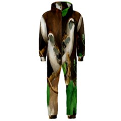 Backdrop Colorful Bird Decoration Hooded Jumpsuit (Men)