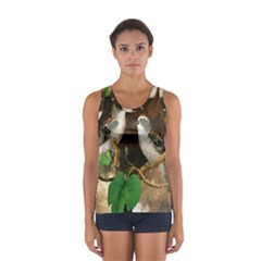Backdrop Colorful Bird Decoration Women s Sport Tank Top