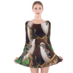 Backdrop Colorful Bird Decoration Long Sleeve Velvet Skater Dress