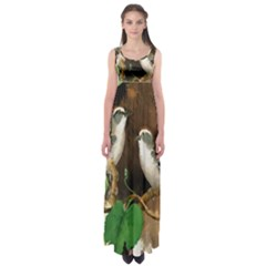 Backdrop Colorful Bird Decoration Empire Waist Maxi Dress