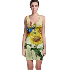 Backdrop Colorful Butterfly Sleeveless Bodycon Dress
