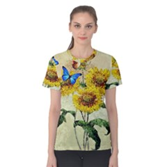 Backdrop Colorful Butterfly Women s Cotton Tee