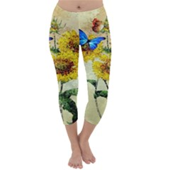 Backdrop Colorful Butterfly Capri Winter Leggings